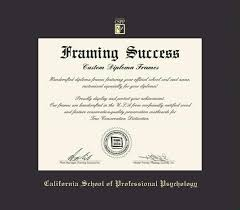 custom diploma frames certificate frames framing success ca  california school of professional psychology diploma master phd frame black mat and gold embossing approximate frame size 17 x 19 inches