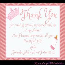 Thank You Cards Baby Shower Princess Baby Shower Thank You Card Kashay Printables