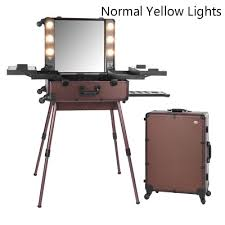 brown professional lighted makeup station box cosmetic rolling case light mirror beauty bag normal yellow light 2016 new arrival in cosmetic bags cases