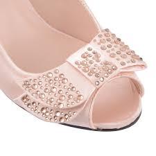 gold wedding shoes low heel. womens-kitten-heel-shoes-ladies-diamante-peep-toe- gold wedding shoes low heel