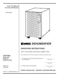 Kenmore Dehumidifier C675 25010 User Manual Manualzz Com