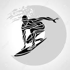 サーファーの創造的なシルエットサーフィン波 クリップアート図を持つ男を分離