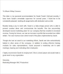 Recommendation Letter For Employment From Manager Reference Letter