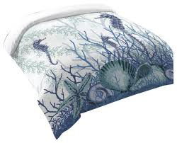 laural home aquatic seahorses and sea s duvet cover king beach style duvet covers and duvet sets by laural home