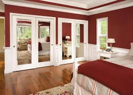 closets storages luxurious master bedroom design ideas with mirorred closet sliding door and red white bedroom interior ideas