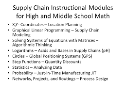 supply chain instructional modules for high and middle school math