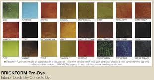Brickform Acid Stain Color Chart Brickform Pro Dye Line Of Concrete Dyes Features 24 Vibrant