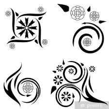 Nálepka čtyři Květinové Vzory Tetování Pixerstick