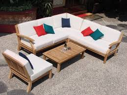 wood outdoor sectional.  Sectional Unique Outdoor Sectional Sofa And PC TEAK WOOD OUTDOOR PATIO SECTIONAL SOFA  SET BRAND Inside Wood I