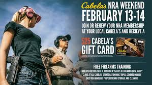 nra weekend offers free firearm at cabela s locations february 13 14