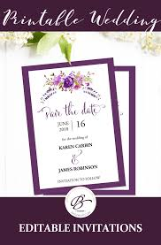 Save The Date Template Purple Save The Date Printable Cards