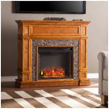 southern enterprises belleview faux stone media center electric fireplace sienna mission style in sienna finish