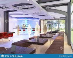 Luxurious Interior Of The Restaurant In Modern Contemporary