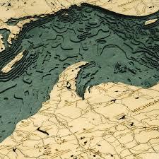 Lake Superior Bathymetric Wood Chart