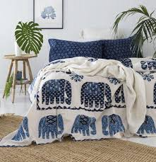 blue and white bedspread.  White Blue And White Elephant Bedspread  Quilt And A