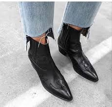 shoes black leather boots short heel boots boots ankle boots cowboy boots western western wild leather