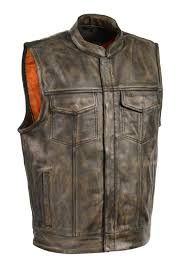 men brown club leather vest with pockets in beige