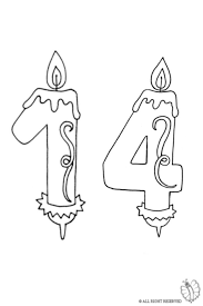 Small Picture Coloring Page of Number Fourteen Birthday Candle for coloring for