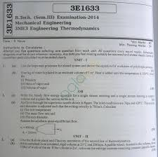 RTU: Question Papers – 3 Semester – ME – Engineering Thermodynamics ...