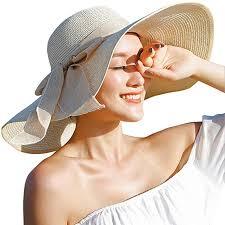 Women Floppy Hat Big Bowknot Straw Wide Brim Beach Sun (One Size