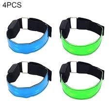 Led Ankle Lights Amazon Com Led Armband 4 Pack Glow Bracelet Safety Light