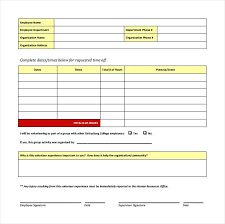 Time Off Request Form Template Images Of Write Download Lovely ...