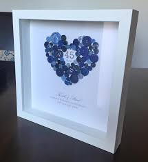 gifts for 45th wedding anniversary. personalised 45th sapphire wedding anniversary button gift frame. this celebratory is made gifts for