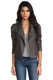 vince paper leather jacket in charcoal