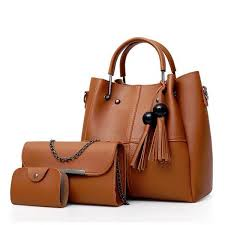 brown fashion las 2 piece handbag set leather tote bag