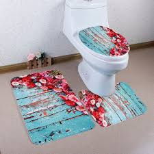 new 3 pieces set rose flower carpet toilet mat for three sets of bath mat
