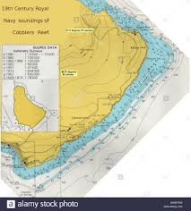 British Admiralty Charts British Admiralty Chart Of Cobblers Reef Stock Photo