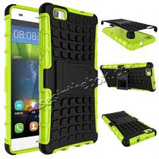 huawei p8. rugged dual layer armor shockproof case cover for huawei p8 lite - green
