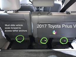 getting to the tether anchors is rather annoying requiring you to have to slide the vehicle seat forward in order to access the anchors