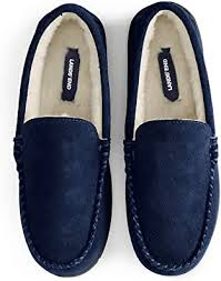 Lands End Mens Suede Leather Moccasin Slippers