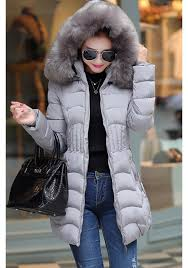 grey pockets zipper faux fur hooded fashion winter warm padded coats