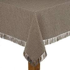 homespun fringed 70 in round chocolate 100 cotton tablecloth