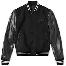 alexander mcqueen wool felt pegasus varsity jacket black ivory 1