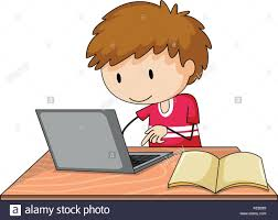 boy working on his laptop with a book lying open on the table stock image