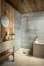 tin walls in bathroom cabin corrugated tin bathroom is separated by a sliding steel barn door tin walls