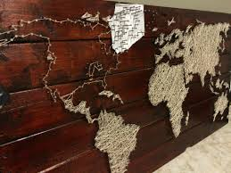 create map wall art with a pallet string and nails  on diy string map wall art with pallet project string and nail world map pinterest pallets