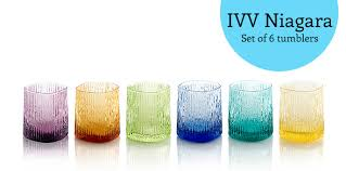 niagara features a set of 6 assorted colour tumblers in elegant shades of amethyst amber green blue forest green and yellow the design is inspired by a