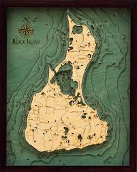 Block Island 3 D Nautical Wood Chart 16 X 20
