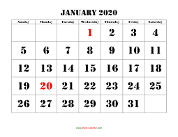 Calendar Template Monthly 2020 Printable Calendar 2020 Free Download Yearly Calendar