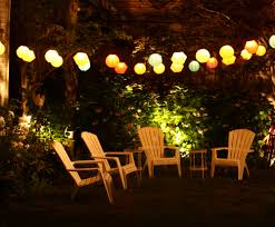 Outdoor Patio String Lighting Ideas Multicolor Paper Lanter String Design  Backyard Decoration Ideas Two Rounded Iron Side Table Over White Adirondack  Chairs ...