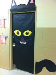 classroom door decorations for halloween. Halloween Classroom Door #blackcat Decorations For