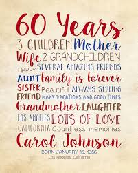 birthday gift for mom 60th birthday 60 years old gift for