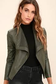 bb dakota peppin olive green vegan leather jacket