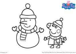 Peppa pig coloring pages book youtube new inspiration learn colors with for kids. Peppa Pig Christmas Snowman Colouring In Printable Bub Hub