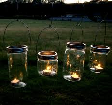 Mason Jar Lanterns Hanging Tea Light Luminaries - Set of 4 - Wide Mouth  Mason Jar Style