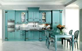 blue kitchen designs. Minimalist Aqua Kitchen Decor With Blue Sky Cabinet And Small Cooktop Also Gray Marble Designs